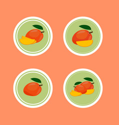 design stickers with ripe yummy mango vector image