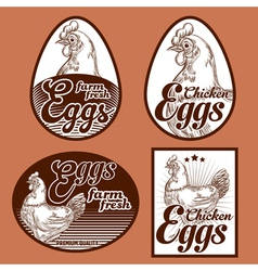 Eggs vintage labels set vector image vector image