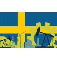 Energy and power icons set with sweden flag vector
