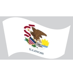 Flag of illinois waving on gray background vector