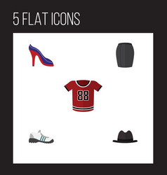 Flat icon dress set of sneakers t-shirt heeled vector