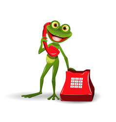 frog with red phone vector image vector image