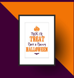 halloween design in picture frame vector image vector image