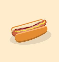Hot dog with mustard and ketchup vector