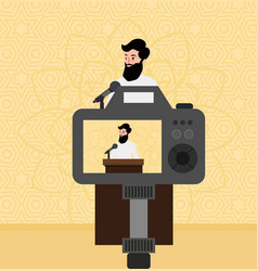islam preacher man teacher talking religious faith vector image vector image