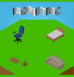 Isometric furnishing set of chair couch office vector