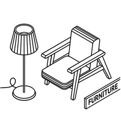 Isometric outline furniture 3d line drawn vector