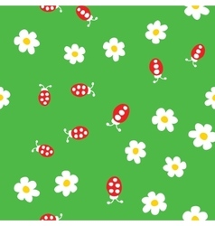 Ladybug and flowers seamless pattern vector