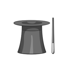 Magician hat and magic wand icon vector