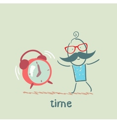 man with an alarm clock ringing vector image vector image