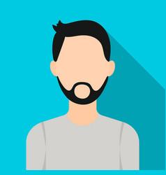 Man with beard icon flat single avatarpeaople vector