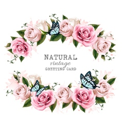 Natural vintage greeting frame with roses vector image vector image
