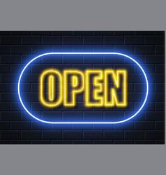 Neon open sign brick wall vector