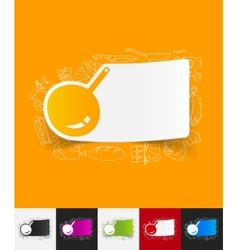 Pan paper sticker with hand drawn elements vector