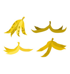 peel banana set trash garbage white background vector image vector image
