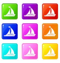 Sailing ship icons 9 set vector