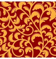 Seamless pattern with floral swirls vector image