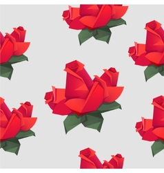Seamless pattern with origami red roses vector