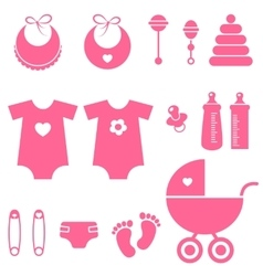 Set of baby girl elements icons vector