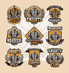set of colorful logos emblems sword and of the vector image