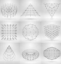 Set of wireframe polygonal elements abstract vector