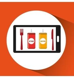 smartphone order sauces food online vector image vector image
