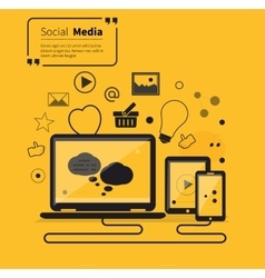 Social Networks Media Online Flat Style vector image vector image