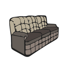 Sofa furniture room couch interior design grey vector