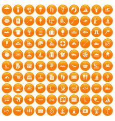 100 water recreation icons set orange vector