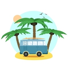 Surf van and palm flat design vector