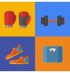 Gym sports equipment icons set vector