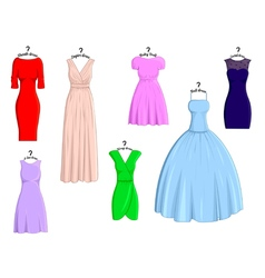 Types of dresses vector
