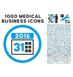 2016 month icon with 1000 medical business symbols vector