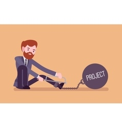 Businessman chained with a metall weight project vector