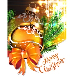 Yellow bow and christmas bauble vector