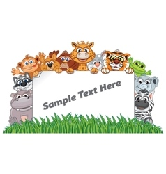 Animal zoo banner funny animals with empty sign vector