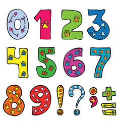 Numbers and signs funny set vector