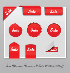 Sale discount banners and tabs vector
