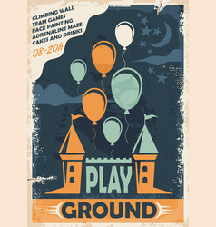 Outdoor playground poster template with castle and vector