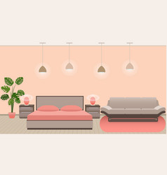 Luxury hotel room interior with modern style vector