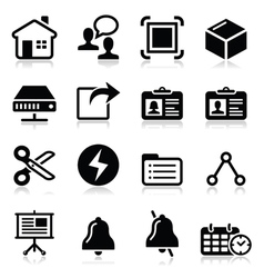 Web internet black icons set vector