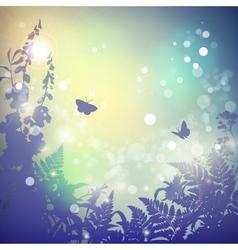 Summer landscape flowers silhouette vector