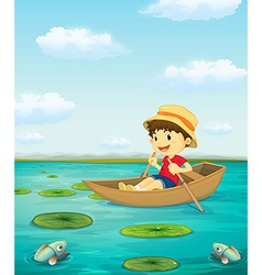 Boy on boat vector
