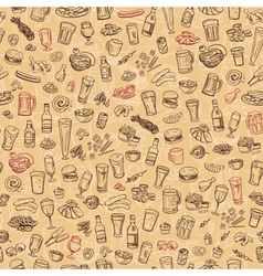 Sketchy beer and snacks seamless background vector