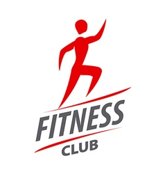 Red logo man running for fitness club vector