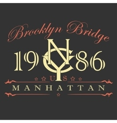 Manhattan t-shirt design vector
