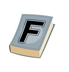 Letter f on cover of retro books concept of vector