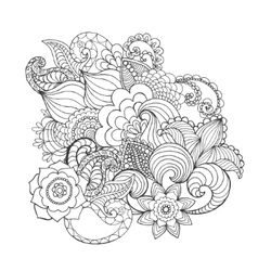 Fantasy flowers coloring page vector