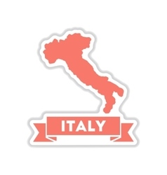 Paper sticker on white background italy map vector
