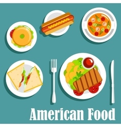 Homemade dinner of american cuisine flat icon vector